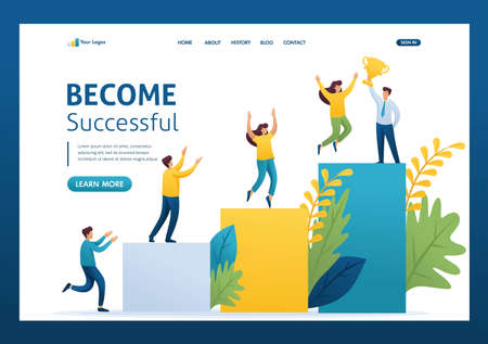 Young entrepreneurs, start up project, successful business, ladder to success. Flat 2D character. Landing page concepts and web design. Vectores
