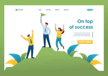 Team of Young entrepreneurs celebrates victory on top of success. Flat 2D character. Landing page concepts and web design. Иллюстрация