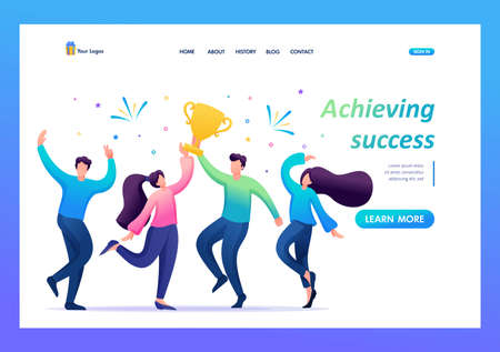The business team celebrates success. People jump and rejoice at the prize, the Cup. Flat 2D character. Landing page concepts and web design.