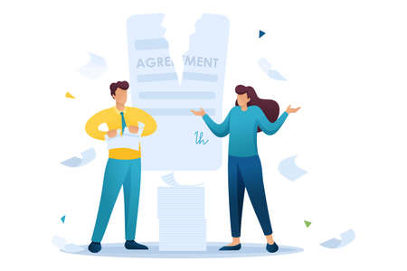 Stressful situation of the contract break, the agreement between the companies. Flat 2D character. Concept for web design.