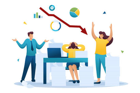 Stressful situation on the background of falling stock prices, the companys employees in a panic. Flat 2D character. Concept for web design.