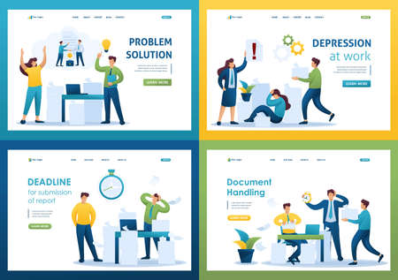 Set Flat 2D concepts Problem solution, Document Handling, Depression at work, Deadline, Contract cancellation. For Landing page concepts and web design.  イラスト・ベクター素材