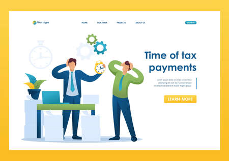 Stressful situation of the office, Time of tax payments. Flat 2D character. Landing page concepts and web design. Illustration