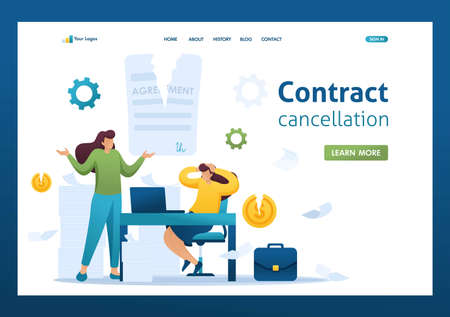 Termination of the contract, broke the agreement partners, business lady in shock. Flat 2D character. Landing page concepts and web design.