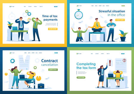 Set Flat 2D concepts Time of tax payments, Completing the tax form, Stressful situation, Contract cancellation. For Landing page concepts and web design. Illusztráció