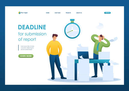Stressful situation of the office, Deadline for submission of report, company's employees in shock. Flat 2D character. Landing page concepts and web design.  イラスト・ベクター素材