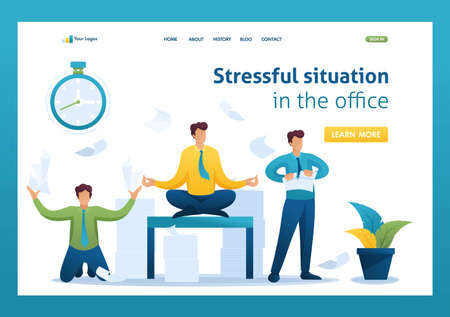 Stressful situation of the office, the staff running around, solve problems, meditate. Flat 2D character. Landing page concepts and web design.