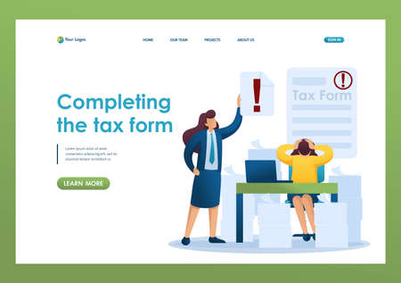 Stressful situation of the office, Completing the tax form, deadline for filing tax returns. Flat 2D character. Landing page concepts and web design.
