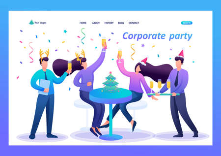Employees of the company have fun together at the new year corporate party, drink champagne. Flat 2D character. Landing page concepts and web design.