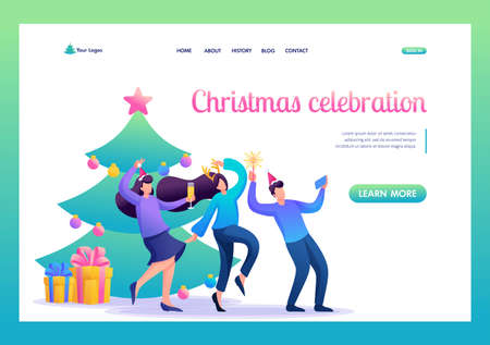 Young people have fun near the Christmas tree, laughing, dancing, taking pictures. Flat 2D character. Landing page concepts and web design.