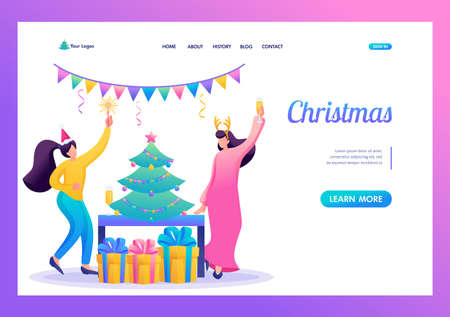 Young girls have fun near the Christmas tree, drink champagne. Flat 2D character. Landing page concepts and web design. Иллюстрация