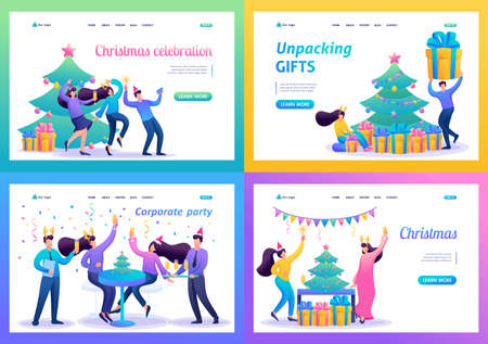 Set 2D Flat concepts Young people have fun on Christmas vacation. For Landing page concepts and web design.
