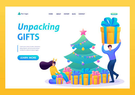 Young people have fun near the Christmas tree, unpacking gifts. Flat 2D character. Landing page concepts and web design.