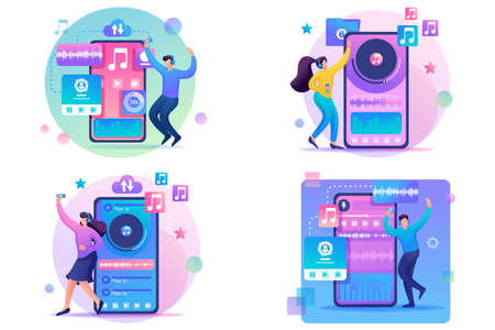 Set 2D Flat concepts Young people, teenagers listen and dance to their favorite music. For Concept for web design.