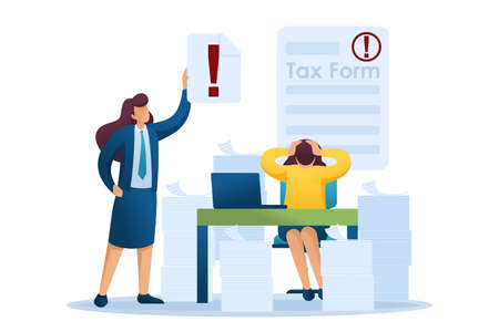 Stressful situation of the office, Completing the tax form, deadline for filing tax returns. Flat 2D character. Concept for web design.