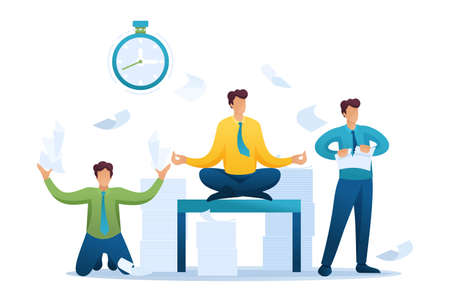 Stressful situation of the office, the staff running around, solve problems, meditate. Flat 2D character. Concept for web design.