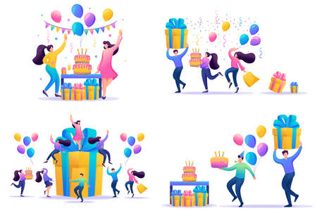 Set Flat concepts Celebrate birthday Party with friends. Anniversary confetti with happy funny 2D characters. For Concept for web design. Иллюстрация