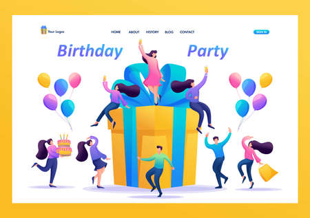 Big birthday Party with friends. People celebrate, drink champagne and have fun on a big gift. Flat 2D character. Landing page concepts and web design.