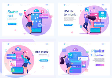 Set 2D Flat concepts Young girls listen and dance to music, favorite tracks on the playlist. For Landing page concepts and web design.