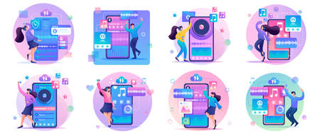 Large Set 2D Flat concepts Young people, teenagers listen and dance to their favorite music. For Landing page concepts and web design. Иллюстрация