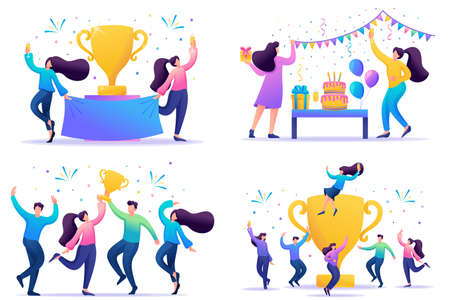 Set 2D Flat concepts celebrate the success of the team, achieve the goal, enjoy working together. For Concept for web design.