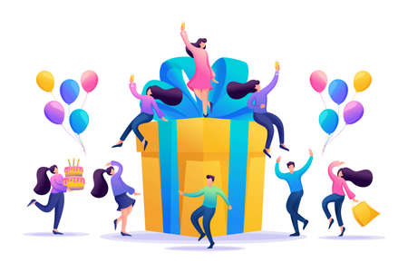 Big birthday Party with friends. People celebrate, drink champagne and have fun on a big gift. Flat 2D character. Concept for web design.