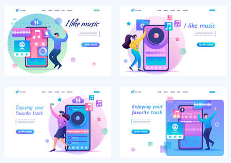Set 2D Flat concepts Young people, teenagers listen and dance to their favorite music. For Landing page concepts and web design. Иллюстрация