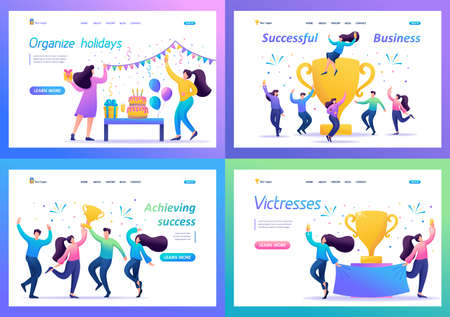 Set 2D Flat concepts celebrate the success of the team, achieve the goal, enjoy working together. For Landing page concepts and web design.
