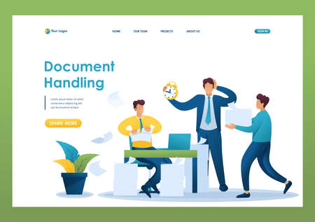 Stressful situation of the office, process of processing documents in the office. Flat 2D character. Landing page concepts and web design. Иллюстрация