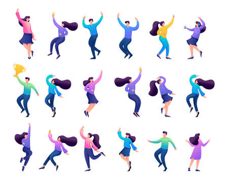 Set of concepts of celebrating people, dancing people, Bouncing, happy, enjoying. Иллюстрация