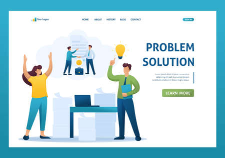Stressful situation of the office, solution of the problem by employees of the company. Flat 2D character. Landing page concepts and web design.