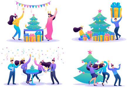 Set 2D Flat concepts Young people have fun on Christmas vacation. For Concept for web design.