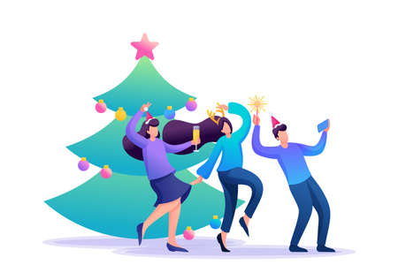 Young people have fun near the Christmas tree, laughing, dancing, taking pictures. Flat 2D character. Concept for web design. Иллюстрация