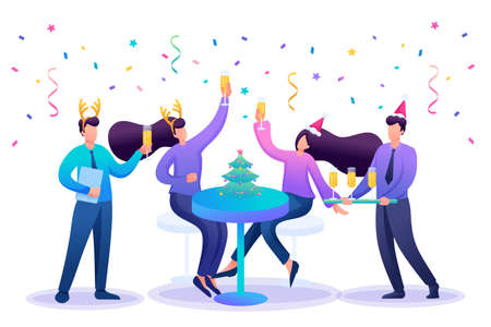 Employees of the company have fun together at the new year corporate party, drink champagne. Flat 2D character. Concept for web design. Иллюстрация