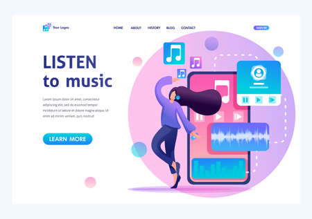 Young teenage girl listening to music and dancing, music lover. Flat 2D character. Landing page concepts and web design.