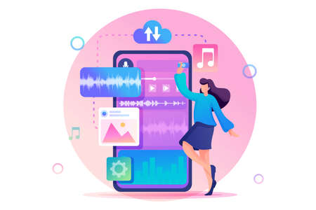 Young teenage girl listening to music, music lover. Flat 2D character. Concept for web design. Иллюстрация