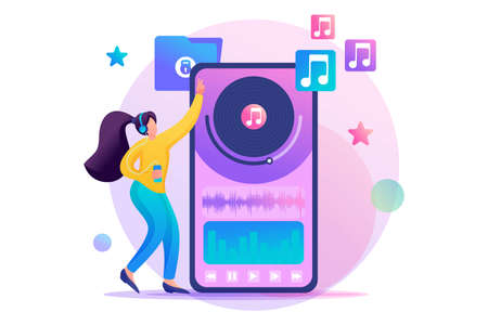 Young teen girl listening to your favorite music through the mobile app. Flat 2D character. Concept for web design.