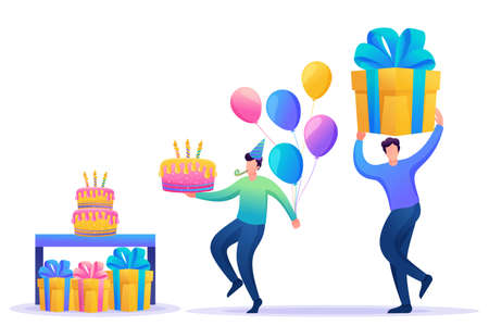 Birthday party with friends. People carry gifts, cake and balloons. Vivid illustration. Flat 2D character. Concept for web design.