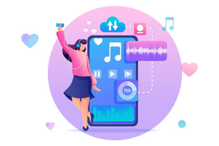 Young teen girl listening to your favorite music on your phone through the mobile app. Flat 2D character. Concept for web design.