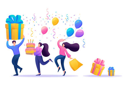 Holiday party with friends. People carry gifts, balloons, a cake with candles, dance and celebrate the holiday. Flat 2D character. Concept for web design. Иллюстрация