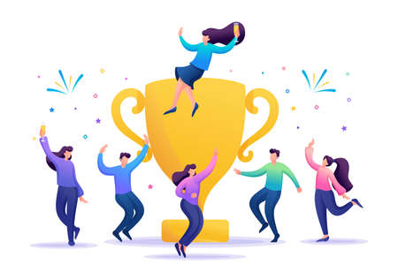 The business team celebrates success. People jump in and enjoy close to with a large Cup. Flat 2D character. Concept for web design.