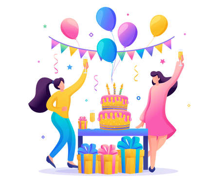 Birthday party with friends. People carry gifts, balloons, a large cake with candles, dance and celebrate the holiday. Flat 2D character. Concept for web design.