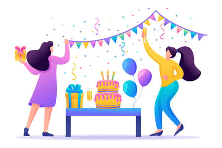 Girls prepare a surprise party, organization of holidays. Decorate the hall, prepare gifts. Flat 2D character. Concept for web design.