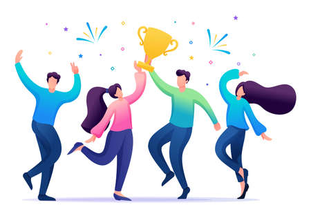The business team celebrates success. People jump and rejoice at the prize, the Cup. Flat 2D character. Concept for web design.