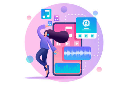 Young teenage girl listening to music and dancing, music lover. Flat 2D character. Concept for web design. Иллюстрация