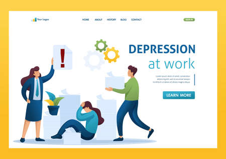 Stressful situation of the office, depression at work, a large number of reports. Flat 2D character. Landing page concepts and web design. Иллюстрация