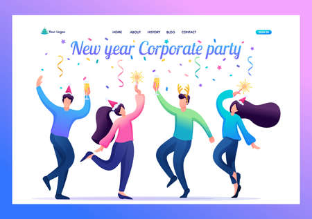 Young people at a Christmas corporate party, dancing, having fun. Flat 2D character. Landing page concepts and web design.