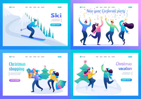 Set 2D Flat concepts Young people have a rest in Christmas holidays, winter entertainments. For Landing page concepts and web design.