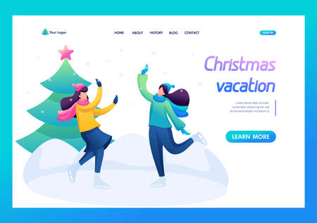 Young girls have fun at the rink, skating, winter entertainment. Flat 2D character. Landing page concepts and web design.