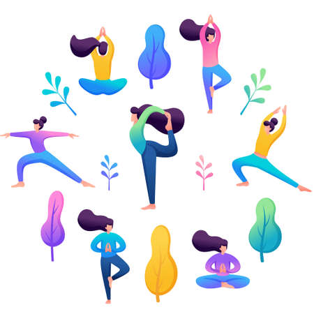 Yoga concept, young people doing yoga, harmony of body and soul. Illustration